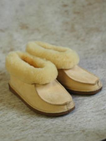 Pantoffel lamsvacht met bontrand maat 43-46  per paar