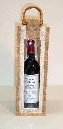 Wijntas van jute voor 1 fles met venster en rotan handvat