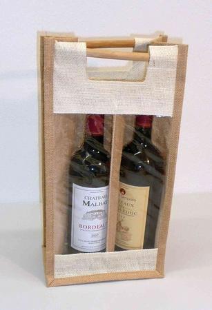 Wijntas van jute voor 2 fles met venster.Houten handgreep  per stuk